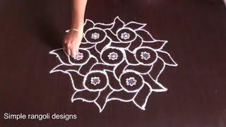 Sankranti Flowers Muggulu With 11 to 6 | Easy Rangoli Designs for Navratri
