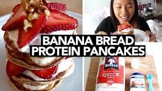 Banana Bread Protein Pancakes (easy + Delicious!)| Katieshim