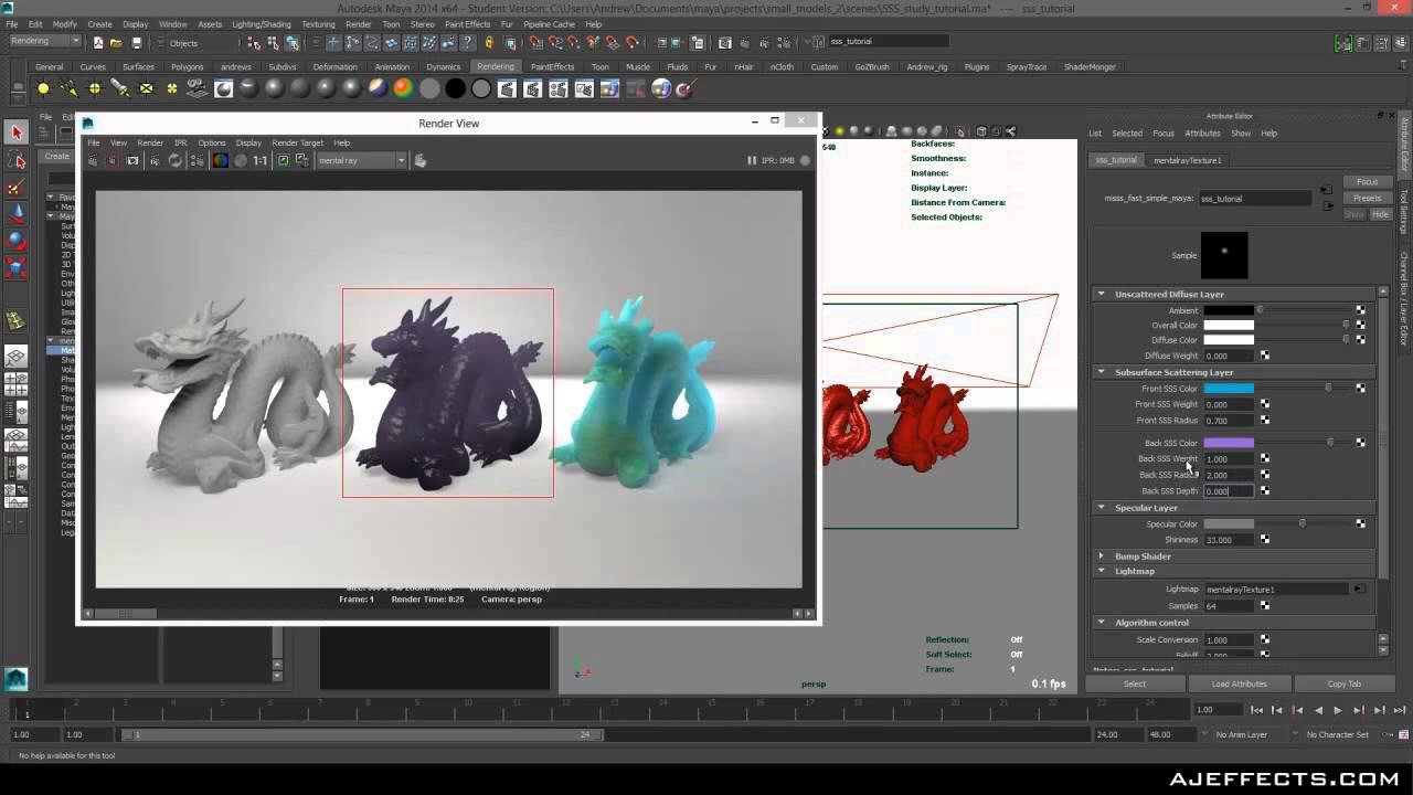 Maya: Subsurface scatter tutorial