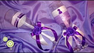 Бокалы на свадьбу лентами и розочками