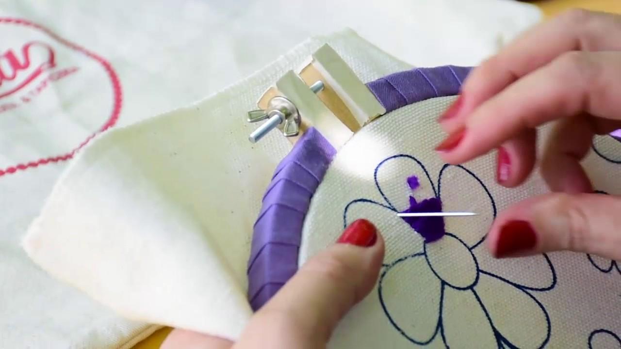 2 como hacer punto relleno en bordado mexicano - Como hacer punto de lana para principiantes ...