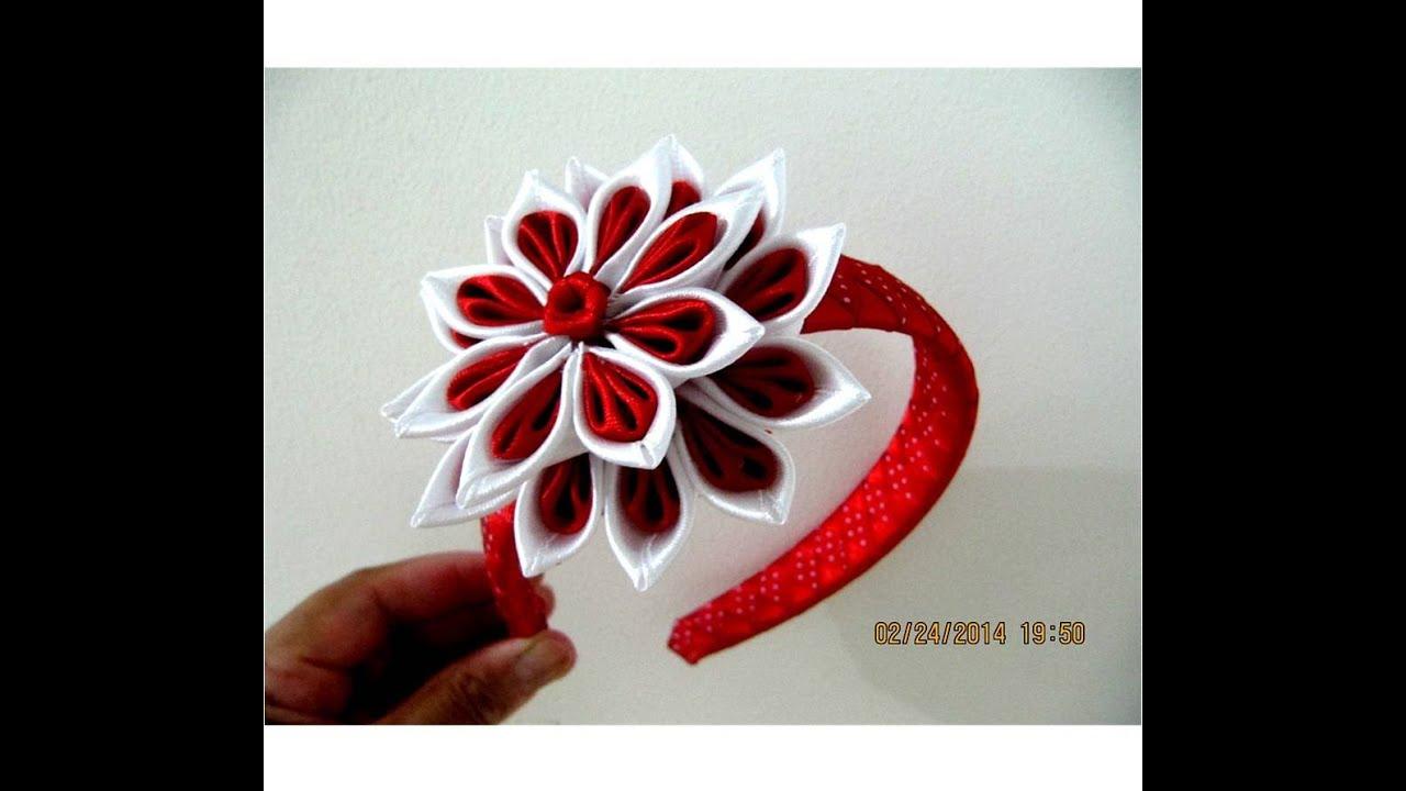 Flores rojas y blancas en diademas trenzadas en cintas for Diademas de tela para el cabello