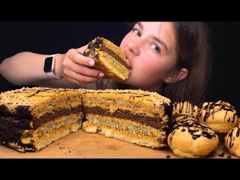 asmr-4-layer-chocolate-cake-&-profiteroles-먹방-초콜릿-케이크-mukbang- -eating-sounds- -tati-asmr