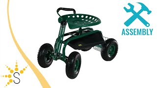Sunnydaze Rolling Garden Cart with Extendable Steering Handle, Swivel Seat & Basket - QH-ESRC-Parent