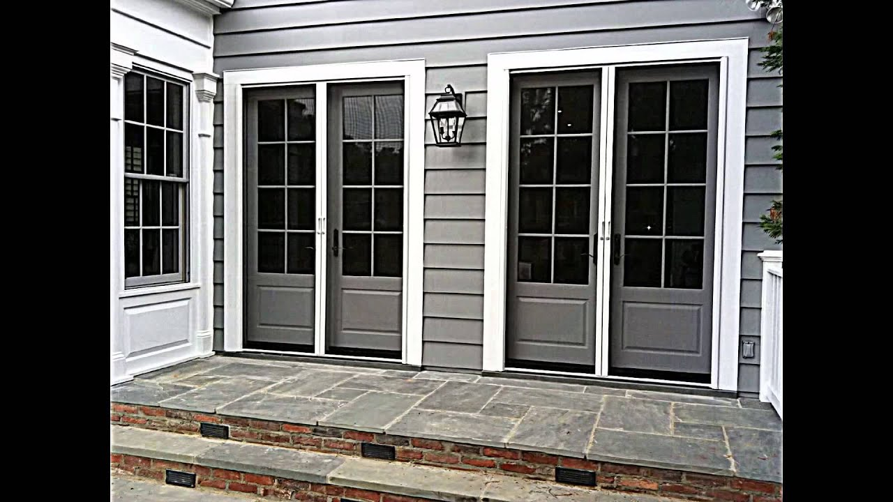 Retractable screens for french doors youtube for Retractable screen door for double french doors