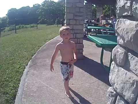 Playing kickball at the Splash Park 2016 Ethan&Mason