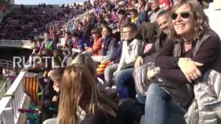 More than 10,000 fc barcelona fans turned up to watch their team's players train at the mini stadium in barcelona, tuesday, as part of annual 'open doors...