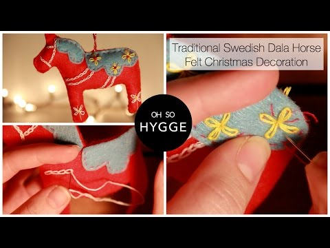 Traditional Swedish Dala Horse Felt Christmas Decoration