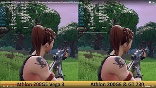 AMD Athlon 200GE Vega 3 vs. GeForce GT 730 Benchmark Test Comparison. Fortnite, CS:GO, Dota 2 ect