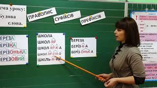 Урок української мови для 3 класу.(рос. мова навчання) Будова слова