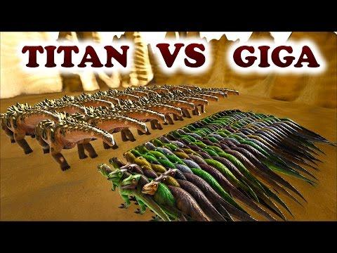 ARK | 40 TITANOSAUR VS 100 GIGANOTOSAURUS | Battle Grounds | Titan VS Giga