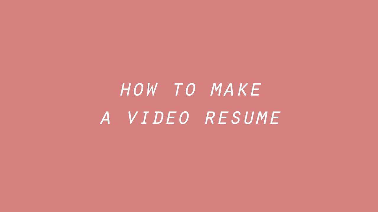 How to make a video resume | video CV tutorial - YouTube