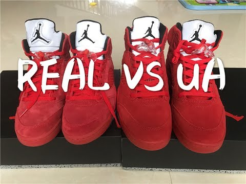 new arrival 8c025 293cd SELENAKICKS AIR JORDAN 5 UNIVERSITY RED REAL VS FAKE COMPARISON