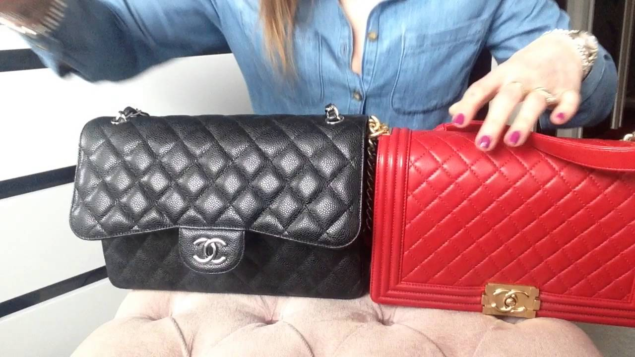 fc64e7db65eb Chanel Classic Jumbo comparison with Chanel Boy Bag - YouTube