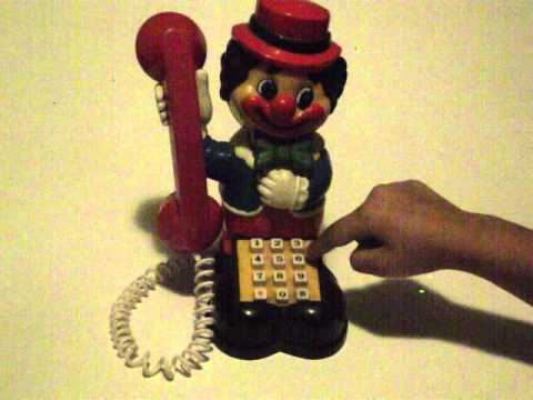 Vintage Clown Phone Toy - Novelty - Rings, Moves Head Up And Down And Lights Red - For Sale