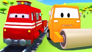 troy the train and the steamroller in car city  cars trucks cartoon for children