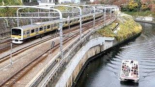中央線快速と中央・総武線各駅停車が行ったり来たり。神田川にはクルーズ船も登場!お茶の水橋周辺からの景色