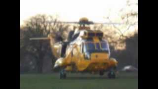 9th January 2013. RAF Westland Sea King Taking off from Regents Park, London, England.