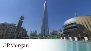 360-Degree Video Outside Burj Khalifa | Dubai Duty Free Tennis Championships | J.P. Morgan