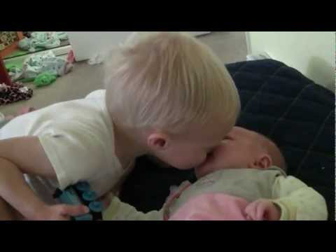 Baby Micah Giving Sister Ruby a Kiss