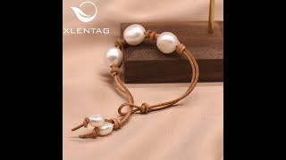Женский кожаный браслет xlentag свадебный минималистичный с натуральным белым жемчугом в стиле