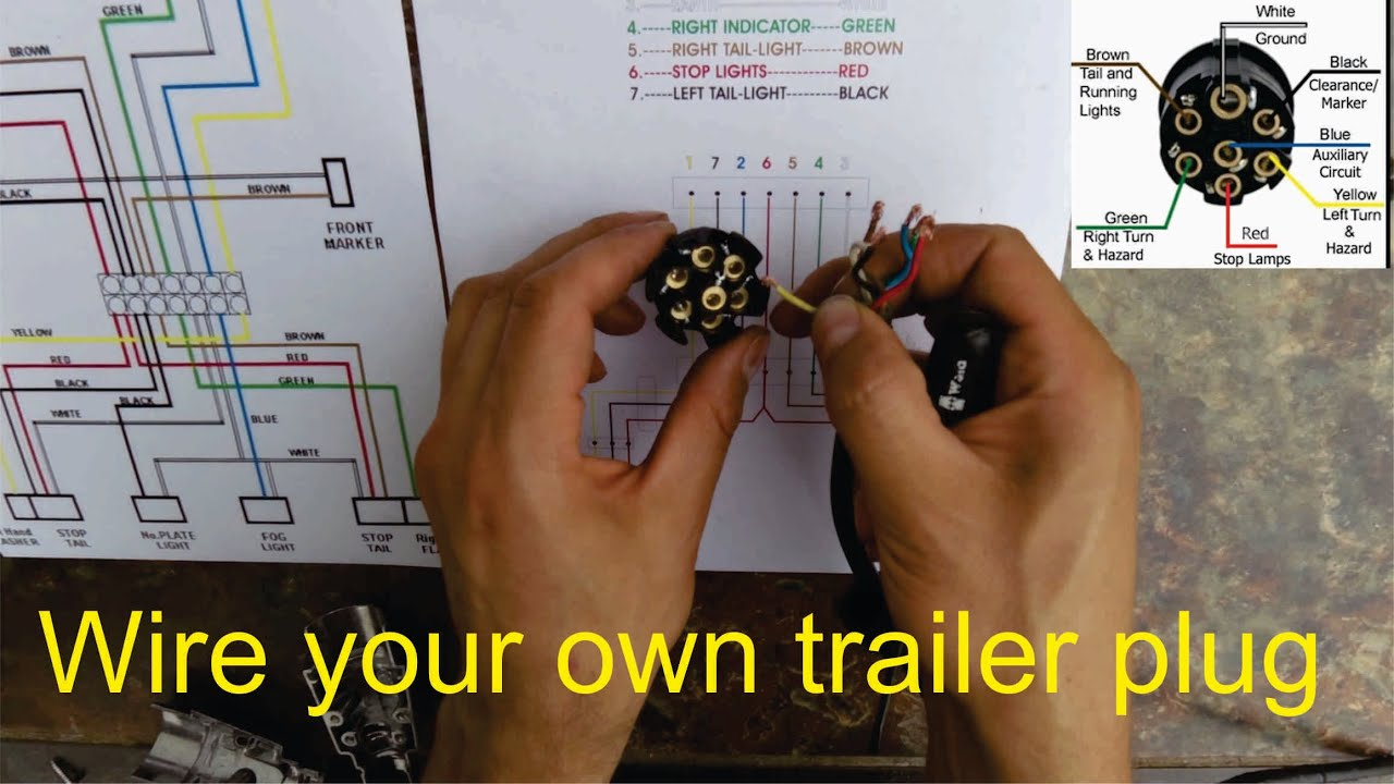 How to wire a trailer plug - 7 pin (diagrams shown) - YouTube  Pin Boat Trailer Wiring Diagram on 4 wire trailer diagram, trailer brake wiring diagram, 4 flat trailer wiring diagram, ford trailer plug wiring diagram, $5 flat trailer wiring diagram, 5-way trailer wiring diagram, 5 pin boat trailer plug, 4 way trailer wiring diagram, 4-way trailer light diagram, 7-wire trailer wiring diagram, trailer wiring harness diagram, 5 pin flat trailer connector diagram, 5-way trailer light diagram,