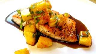 Pan Fried Salmon - Seared Salmon With Mango And Hawaiian Soya - Poormansgourmet