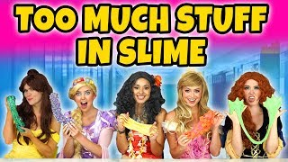 ADDING TOO MUCH INGREDIENTS TO SLIME. (With Moana, Rapunzel, Aurora, Merida and Belle)