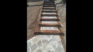 Exteriérové schody na chate Kameň/Drevo