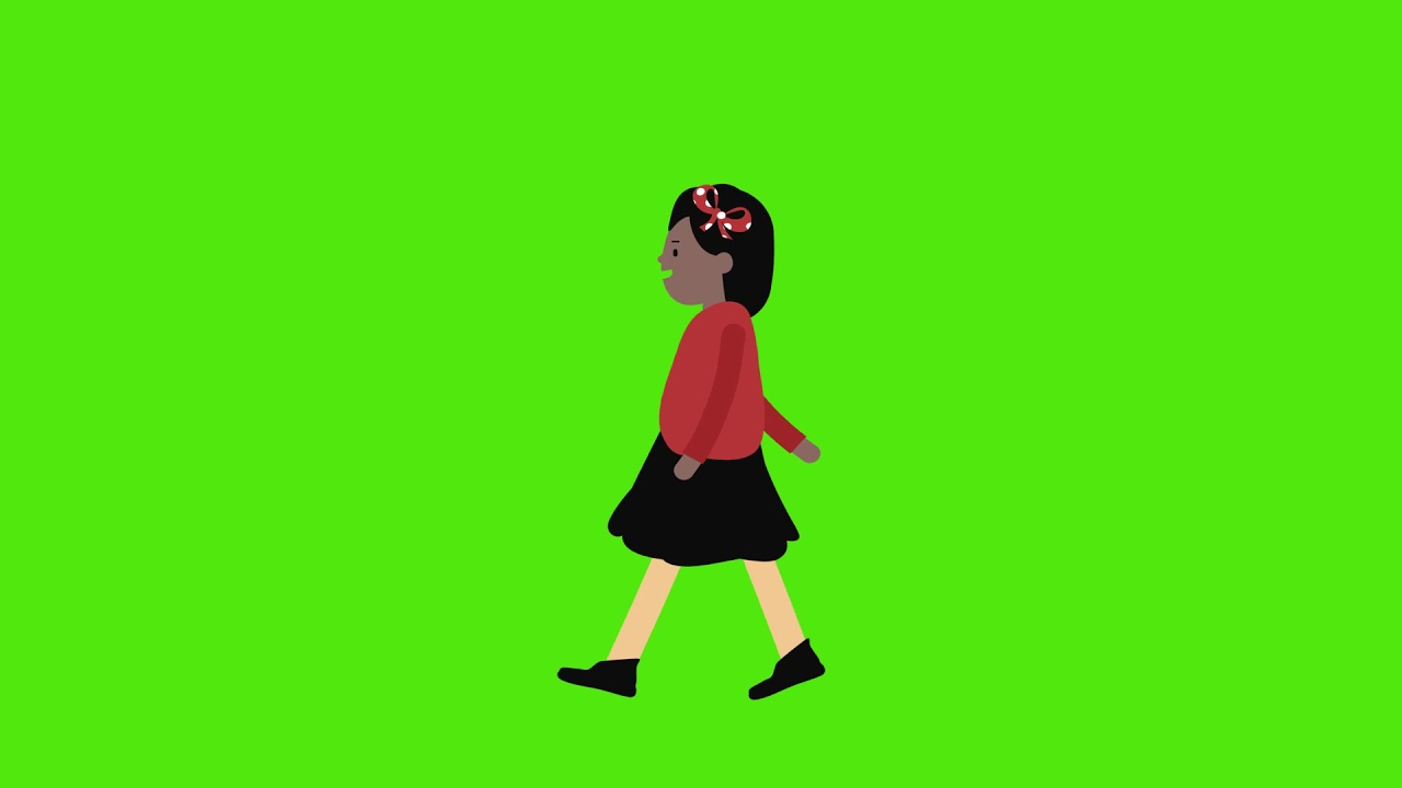 girl walking animation green screen videos