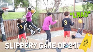 "SLIPPERY GAME OF ""21"" ON A MINI-HOOP! 