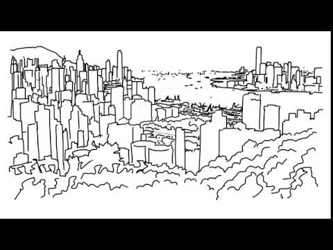 Hong Kong City Outline Animation Hand Drawn Sketch Build Up