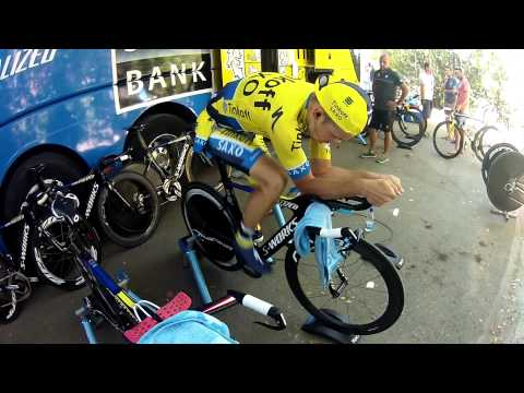 Tinkoff-Saxo's Ivan Rovny warms up at Vuelta a España