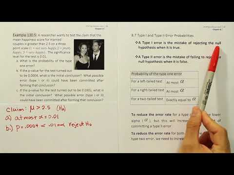 Hypothesis Testing: Type I and Type II errors, example 130.5