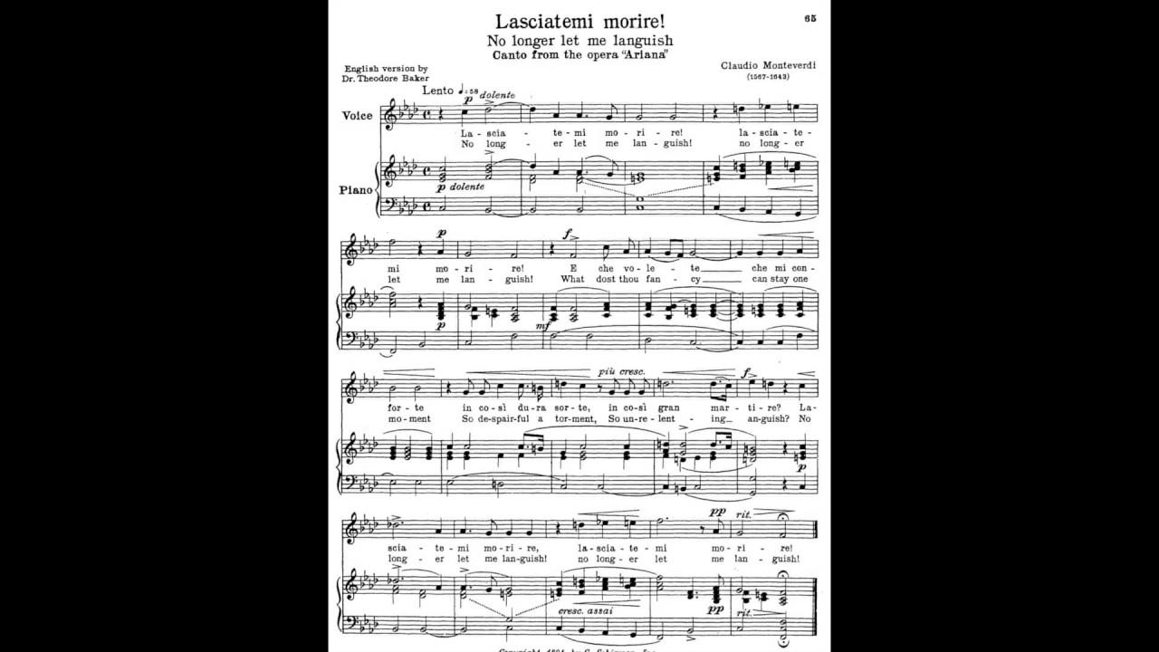15 Lasciatemi Morire 24 Italian Songs And Arias Piano Melody And Accompaniment Youtube