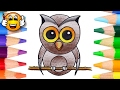 Coloring Pages for Kids Cartoon Owl | Coloring Book Videos | Bibabibo