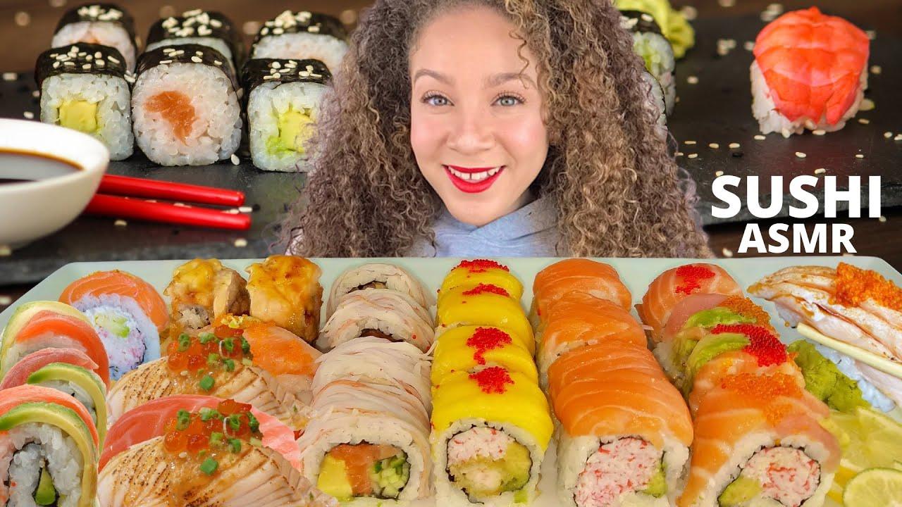 EATING SUSHI ASMR MUKBANG |NO TALKING| RAW SALMON NIGIRI, SALMON BELLY & SUSHI ROLLS| PandaEats ASMR