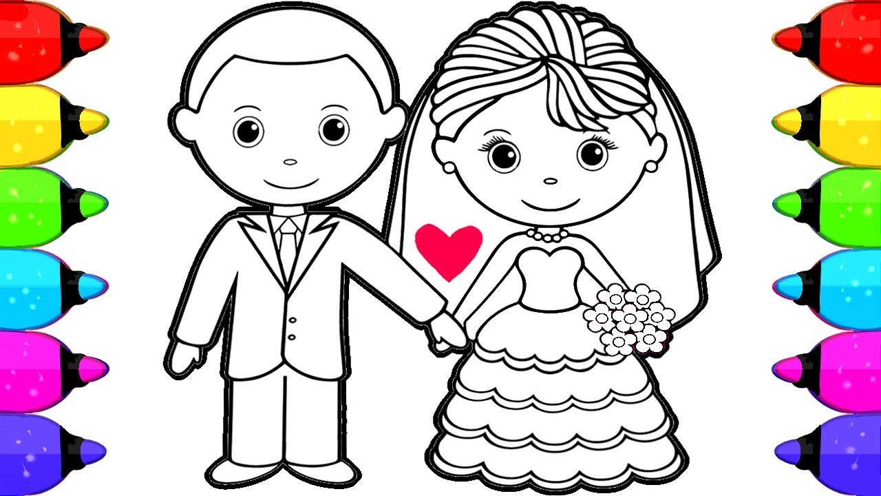 Bride and Groom Coloring Book Pages for Kids | How to Draw and ...