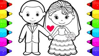 Bride and Groom Coloring Book Pages for Kids | How to Draw and Color Bride and Groom