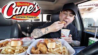 EATING Raising Canes Chi¢ken Fingers With LARGE Sauce | Mukbang