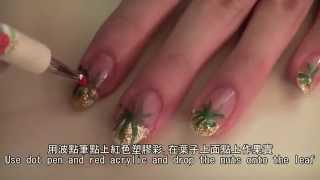 [聖誕指甲] 簡單手繪法式聖誕花指甲教學