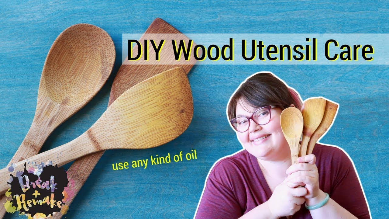DIY Wood Utensil Care - use sandpaper and oil - YouTube