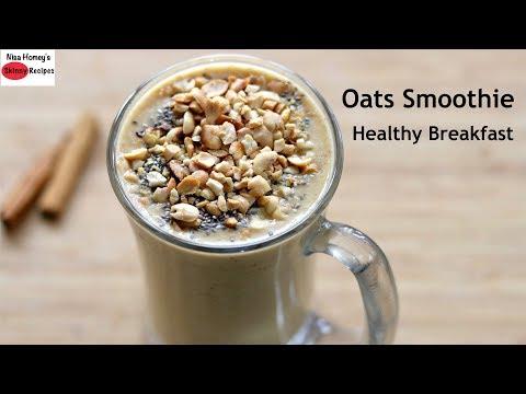 Oats Breakfast Smoothie Recipe - Oats Recipes For Weight Loss - Vegan (No Milk) | Skinny Recipes