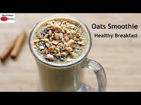 Oats Breakfast Smoothie Recipe - Oats Recipes For Weight Loss - Vegan (No Milk) | Skinny Recipes