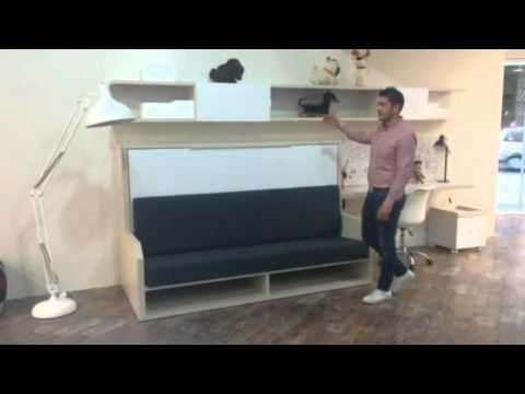 Cama abatible con sof para dormitorios peque os versatile youtube - Sistema cama abatible ...