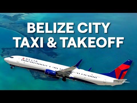 Delta Boeing 737-900ER Taxi & Takeoff at Belize City Philip S.W. Goldson DL695