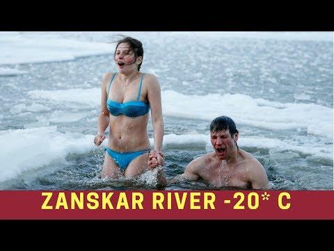 Zanskar River , Ladakh: Crazy People Jumping In Frozen River and Taking Bath During Chadar Trek
