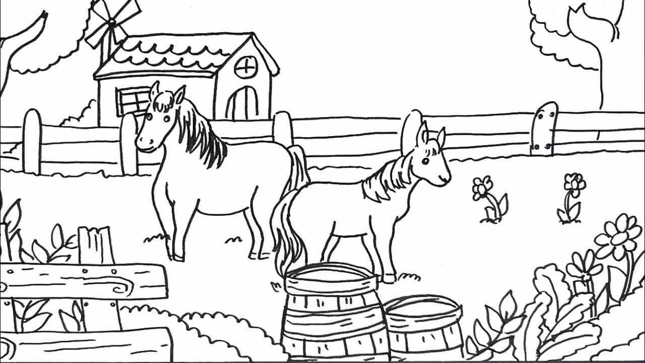Cara Menggambar Dan Mewarnai Tema Pemandangan Peternakan Kuda Yang Bagus Dan Mudah PART 1