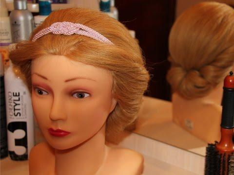 Греческая причёска с повязкой на средние волосы