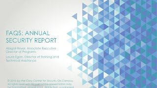 FAQs - Annual Security Report